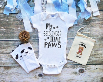 Dog Cat Siblings Cute Baby Onesie® Cute Puppy Paws Kitten Paws Bodysuit - My Siblings Have Paws - Infant Newborn Clothes - Cute - M366