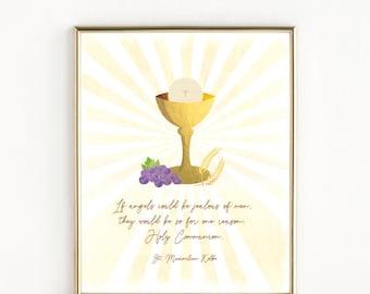 First Holy Communion Gift   St. Maximilian Kolbe Quote   Catholic Art   8x10 Print