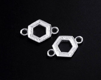 2 of 925 Sterling Silver Textured Hexagon Links , Connectors  10 mm. :tm0023
