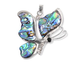 Butterfly Abalone Shell Pendant in Silver-tone Without Chain