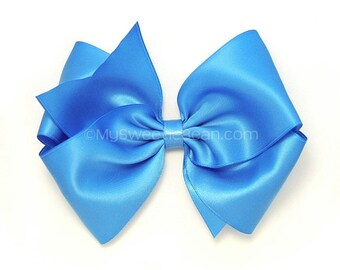 "5 Inch Satin Hair Bow, 60 Colors, Copen Blue Satin Boutique Bow for Flower Girls, 5"" Satin Bow, Copenhagen Blue Hair Bow for Women, Girls"