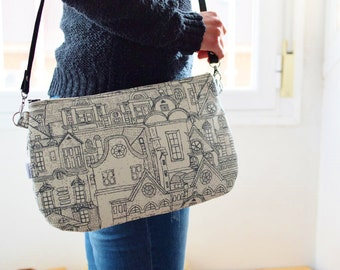Gray bag,grey clutch,fabric clutch,grey purse,city bag,crossbody bag,black handbag,printed bag,spring bag,canvas handbag