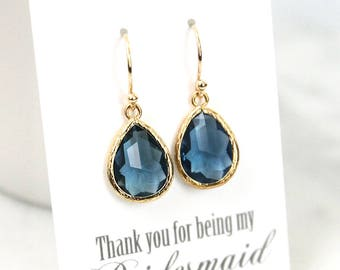 Sapphire earrings, Navy blue earrings, Bridesmaid Gift, Wedding earrings, September birthstone earrings, Bridesmaid earrings, Maid of honor