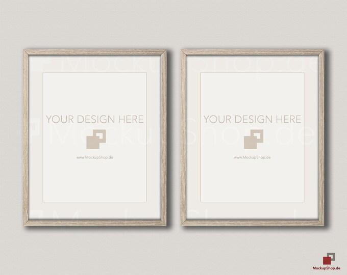 OLD MOCKUP FRAME 8x10 / Set of 2 Frames  / vertical Frame  / beige wall / Old Vintage Frame Mockup / Vintage nordic style / Empty Mockup