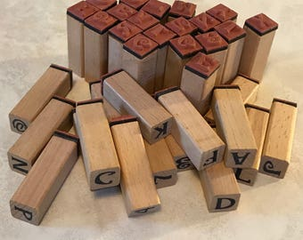 Set of Wooden Alphabet And Number Stamps With Rubber Stamps