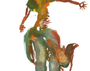 Original Fashion Art Watercolor Figure Painting, Surreal Abstract Decor - 262