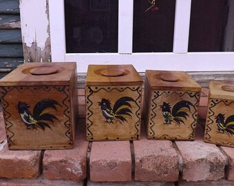 Vintage Black Rooster Canister set Made by Woodpecker Woodware