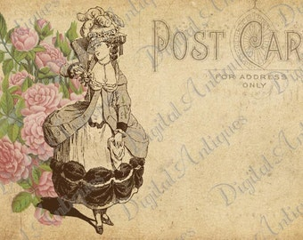 Vintage Fashion and Flowers Post Cards Instant Digital Download