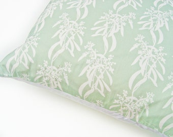 LAST ONE: Cushion Throw Pillow Cover 18 x 18 inch - Botanical Original Design in Sage Green - Handmade in UK