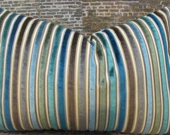 Designer Pillow Cover Lumbar, 16 x 16, 18 x 18, 20 x 20, 22 x 22, Euro - Multi Velvet Stripe Teal