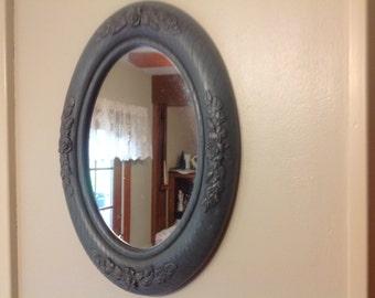 Vintage Homco Mirror Country Blue Oval Mirror Vintage Mirror
