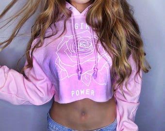 Girl Power Cropped Hoodie • Feminist Shirt • Feminism T Shirt • Girl Power Shirt « G185lightpink «« (cropped pullover) «