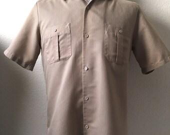Vintage Men's 80's Shirt, Tan, Button Up, Short Sleeve by Triumph (M)