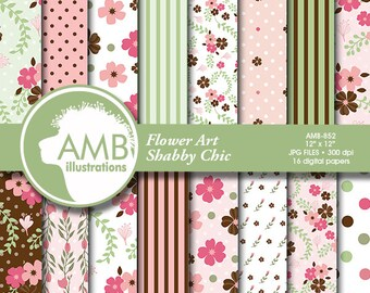 Shabby chic papers, Floral Digital Papers, floral backgrounds, Wedding paper, vintage floral pattern, country chic, commercial use, AMB-852