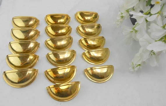 Vintage Brass Drawer Pulls Vintage Brass Cabinet Pulls Brass Half Moon Pulls  Brass Half Round Drawer Pulls Set Of 16 Brass Pulls From VintageHillbillies  On ...