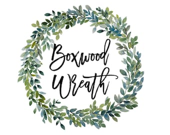 Boxwood watercolor wreath hand painted   PNG   greenery   clip art - INSTANT DOWNLOAD