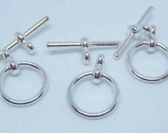 3 Sets - Shiny Silver  over Brass Toggles