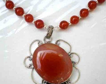 Carnelian Gemstones Necklace Carnelian MoonStone Pendant Sterling Chain