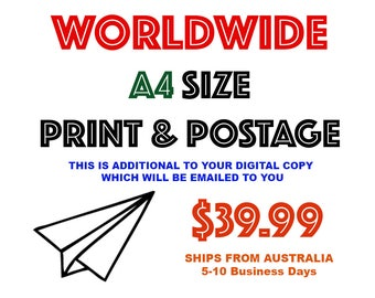 WORLDWIDE A4 size HIGH Quality Photographic Print & Postage - Ships from Australia - 5-10 business days