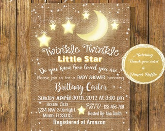 Digital file or Printed-Twinkle Twinkle Little  Star Burlap Baby Shower Invitation-Do You Know How Loved You Are-Customized-Free Shipping
