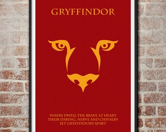 The Houses of Hogwarts: Gryffindor Minimalist Harry Potter Poster