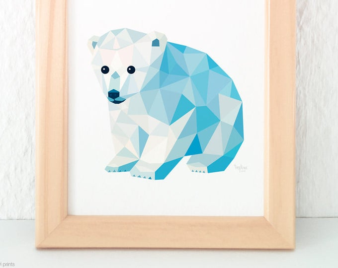 Baby bear print, Baby polar bear art, Polar bear illustration, Polar bear nursery art, Wildlife art, Baby nursery art, Geometric polar bear