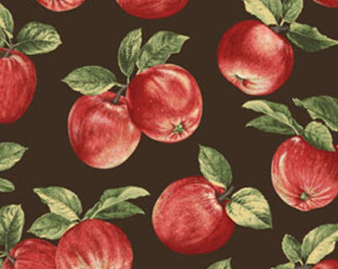 Half Yard Apple Picking Time - Apple Orchard in Espresso - Cotton Quilt Fabric - Benartex (W1815)