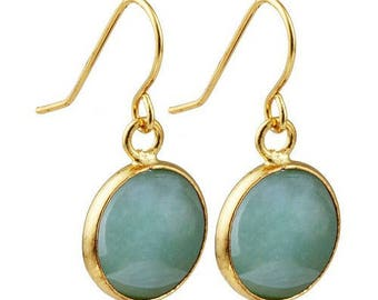 Round dangle earrings plated gold - aventurine