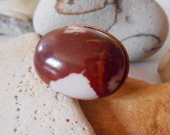 Jasper ring Sideways Oval ring Adjustable ring One of a Kind Large Handmade Unique Chunky Big Gemstone ring Brown White Stone ring Copper