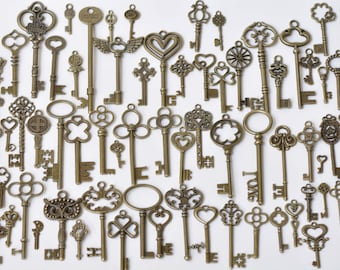 Antique Bronze Large Skeleton Key Charms Pendants Wedding Favor Collection Assorted Mixed Style Set of 69 A8785