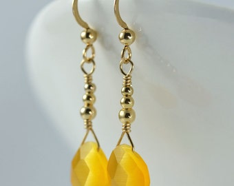 Yellow Cat's Eye Teardrop Earrings - Gold Filled, Yellow Cat's Eye Teardrops