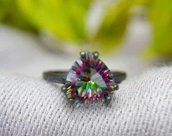 Quarz-Ring, 4 Karat Rainbow Quarz Billionen Aussage Ring, Sterlingsilber geschwärzt und Quarz-Ring, Verlobungsring, Promise Ring