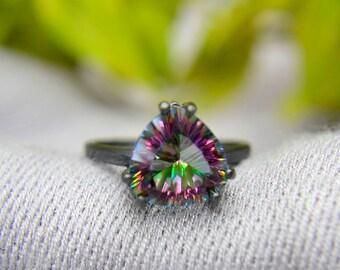 Quartz Ring, 4 carat Rainbow Quartz Trillion Statement Ring, Blackened Sterling Silver and Quartz Ring, Engagement Ring, Promise Ring