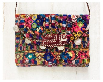 Multicolour Embroidered Clutch Bag With Mirrors & Coins