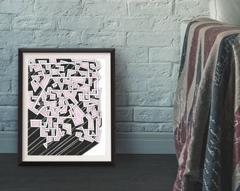 "Urban Geometric Wall Art Print, Original Graffiti Wall Art, Abstract, Wildstyle, Optical Illustion Art - ""Was I Supposed to Take a Left?"""