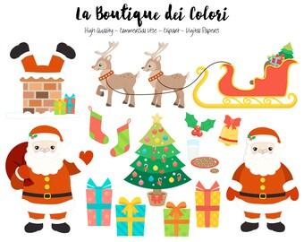 Santa Clipart, Cute Graphics PNG, Santa Claus, santa's sleigh, presents, chimney, reindeer, tree Christmas Clip art, Commercial Use