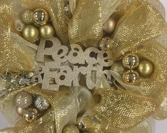 Lord of All Wreath, Peace on Earth Wreath, Gold Wreath, Winter Wreath, Christmas Wreath, Metallic Wreath, Deco Mesh Wreath