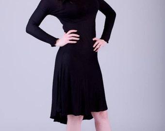 Jersey dipped hem black dress