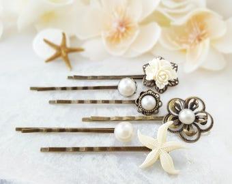 Starfish Bobby Pin - Beach Wedding Hair Pins - White Bobby Pin Set Decorative - Pearl Bridal Hair Accessory - Bridesmaid Ask Gift H4238