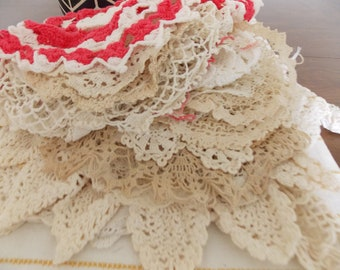 36+ Vintage Doilies, few Collars, Crochet, Various designs for Home Decor, Runners, Crafts, Handmade, Vintage Textiles