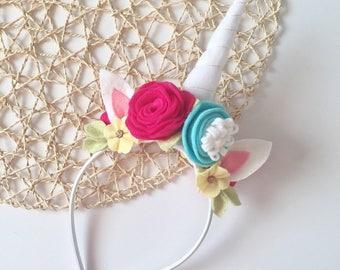 Unicorn Headband, Unicorn Costume, Flower Headband, Unicorn Dress Up, Felt Flower Headband, Unicorn
