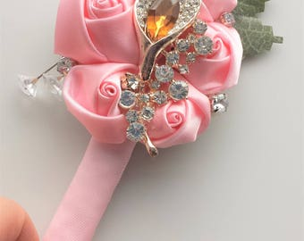 Groom Boutonniere, Pink Green, Amber Rhinestone Brooch, Men Flower Lapel Pin, Wedding Bridal Prom Father Buttonhole Boutineer, READY TO SHIP