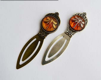 Dragonfly in Amber Bookmark - Czech Glass Button - Silver or Bronze - Claire Fraser Sassenach Book Lover - Outlander inspired