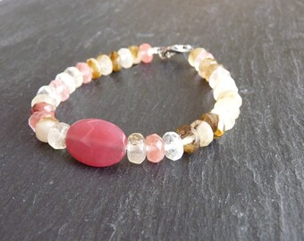 Pink Ruby gemstones and tourmaline - romantic bracelet