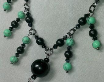 Black crystal beaded necklace set