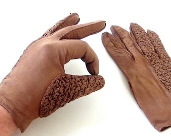 Vintage Brown Woven Leather Gloves, Size 7