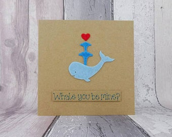 Handmade proposal card, Felt whale Valentine's Day card, Kawaii style, Blue whale pun card, Anniversary card, Spouting water and heart