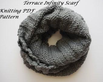 Terrace Infinity Scarf Pattern, Tutorial,  Knitting Pattern, Knit PDF Pattern, Scarf Pattern, Knitted Scarf Pattern, Infinity Scarf Pattern