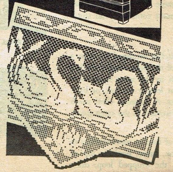 Old Crochet Pattern 7320 Chair Set With Swans And Cat Tails