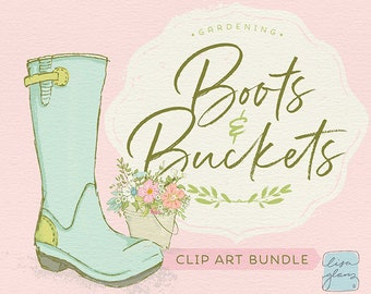 Spring gardening clipart set: boots & buckets clip art, instant download garden clipart with PNG files for commercial use / CM103c